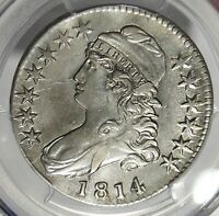 1814 50C CAPPED BUST SILVER HALF DOLLAR PCGS EF O 104A LATE