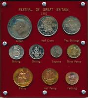 1951 UK 10 PC. PROOF SET  FESTIVAL OF GREAT BRITAIN   SEE IM