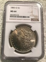 1883-O MORGAN SILVER DOLLAR NGC MINT STATE 64 UNCIRCULATED