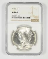 MS64 1923 PEACE SILVER DOLLAR   GRADED NGC  628