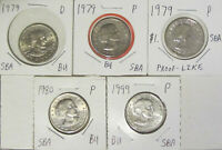LOT OF 5 SUSAN B ANTHONY SBA $1 DOLLAR BU UNCIRCULATED COINS