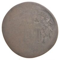 TWO CENT WORN DATE US TWO 2 CENT PIECE 1ST COIN WITH IN GOD