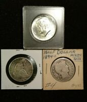 3  SILVER COINS   1874 SEATED LIBERTY HALF 1894S BARBER HAL