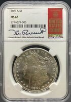 1881 MORGAN DOLLAR MINT STATE 65 NGC KENNETH BRESSETT SIGNED PA1794079005
