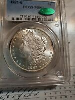 1887-S PCGS MINT STATE 63 CAC MORGAN SILVER DOLLAR CAC STICKER GORGEOUS