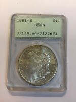 ONE BEAUTIFUL 1881-S MORGAN SILVER DOLLAR MINT STATE 64