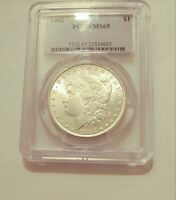 1882 P MORGAN DOLLAR-PCGS MINT STATE 65  BLAST WHITE. STRONG STRIKE.