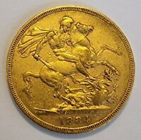 1884 YOUNG HEAD VICTORIA FULL GOLD SOVEREIGN MELBOURNE MINT
