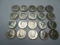 1 ROLL  20 COINS  1964 KENNEDY HALF DOLLAR $10 FACE VALUE 90