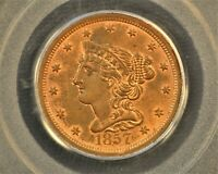 1857 BRAIDED HAIR HALF CENT. C-1, THE ONLY KNOWN DIES. RARITY-2 MINT STATE 63 RB PCGS OGH