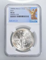 1985 MS66   MEXICO MEXICAN LIBERTAD GRADED NGC 1 OZ SILVER .