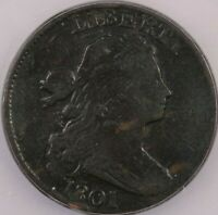 1801 DRAPED BUST LARGE CENT ICG F12