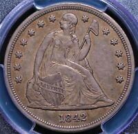 1842 SEATED LIBERTY DOLLAR PCGS AU 50 LOVELY CLEAN AND LUSTROUS MAPLE / OLIVE