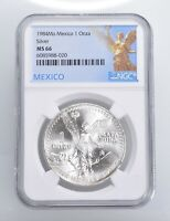 1984 MS66   MEXICO MEXICAN LIBERTAD GRADED NGC 1 OZ SILVER .