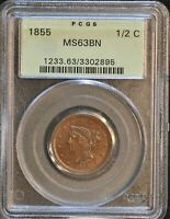 1855 BRAIDED HAIR HALF CENT. C-1, THE ONLY KNOWN DIES. MINT STATE 63 PCGS OGH