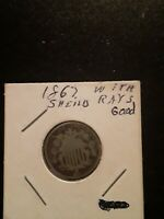 1867 FIVE CENTS WITH SHIELD RAYS BEAUTIFUL COIN, GREAT DETAIL.  LITTLE WEAR.
