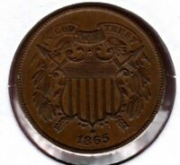 1865 2-CENT PIECE GRADES UNCIRCULATED BROWN  COIN HERE  C4012