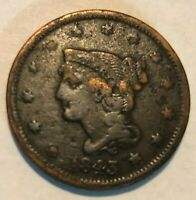 1843 TYPE OF 44 BRAIDED HAIR LARGE CENT GRADES VG DETAIL PITTED THO AU1666