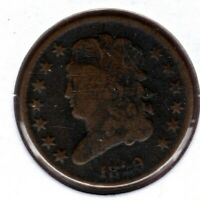 1829 CLASSIC HEAD HALF CENT GRADES VG READ ROTATED REVERSE C3372