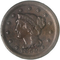 1852 BRAIDED HAIR LARGE CENT  FINE VF SEE PICS G206