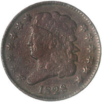 1828 CLASSIC HALF CENT 13 STARS FINE FN CLEANED SEE PICS G200