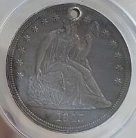 1843 SEATED DOLLAR GRADED ANACS EF 45 DETAILS HOLED GREAT FOR HOLED TYPE SET