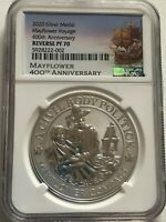 2020 MAYFLOWER VOYAGE 400TH REVERSE SILVER MEDAL NGC PF 70
