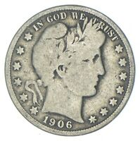 BETTER 1906   US BARBER 90  SILVER HALF DOLLAR COIN COLLECTI