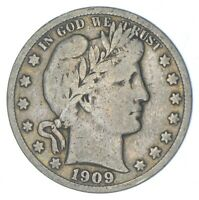 BETTER 1909 S   US BARBER 90  SILVER HALF DOLLAR COIN COLLEC