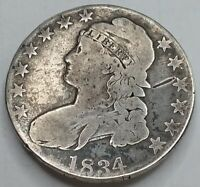 1834 CAPPED BUST HALF DOLLAR NICE BUT WELL CIRCULATED AFFORD