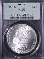 1882-S MORGAN SILVER DOLLAR PCGS MINT STATE 65 OGH BLAST WHITE SHIPS FREE ACHM