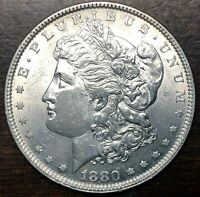 1880 MORGAN SILVER DOLLAR, BU .900 SILVER GEM
