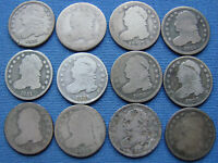 NICE ASSORTED LOT OF  12  CAPPED BUST DIME 1820'S & 1830'S