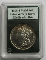 1878 S VAM 46A  ENGRAVED WING FEATHER, EXTRA WREATH BERRY DIE BREAK