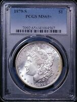 1879 S MORGAN DOLLAR PCGS MINT STATE 65 BLAST WHITE SUPERB FROSTY LUSTER, PQ GE443