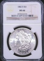 1882-S MORGAN SILVER DOLLAR NGC MINT STATE 66 WHITE SUPERB FROSTY LUSTER PQ D5