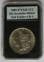 1889 P VAM 1C2 DIE SCRATCHES BELOW TAIL FEATHERS, DENTICLE IMPRESSIONS TF