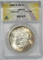 1880  $1 MORGAN SILVER DOLLAR  ANACS MINT STATE 63 8/7 VAM 11A HOT 50  050754