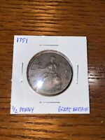 GREAT BRITAIN HALFPENNY 1751 GEORGE II. A09 187