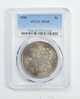 MINT STATE 65 1886 MORGAN SILVER DOLLAR - GRADED PCGS 9960