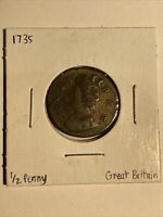 GREAT BRITAIN 1735 HALF  PENNY GEORGE II  COPPER COIN.