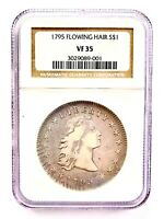 FINE DETAILS 1795 FLOWING HAIR DOLLAR - 3 LEAVES SILVER $1 - GRADED NGC VF35