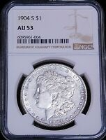 1904-S MORGAN SILVER DOLLAR NGC AU53 BRIGHT & LUSTROUS. JUST GRADED GE760