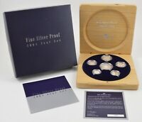2004 AUSTRALIA 6 COIN FINE SILVER PROOF YEAR SET   WITH DISPLAY BOX & COA  681