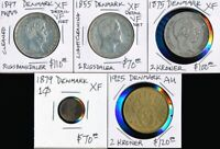 5 OLD DENMARK COINS > 1847 1925    CV $470 USD   SEE IMAGES >