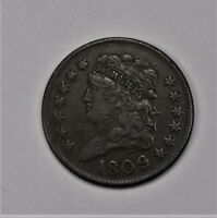 1809/6 9 OVER INVERTED 9 HALF CENT