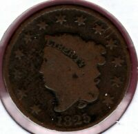 1825 CORONET HEAD LARGE CENT CIRCULATED C5787
