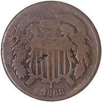 1868 TWO CENT COIN ABOUT GOOD AG SEE PICS XNC-H357