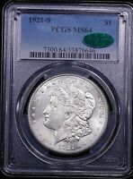 1921 S MORGAN SILVER DOLLAR PCGS MINT STATE 64 CAC BLAST WHITE FROSTY LUSTER PQ GE861