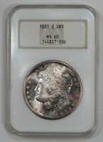 1881 S MORGAN SILVER DOLLAR $1 NGC MINT STATE 65 MINT UNC - OLD FATTY HOLDER 006